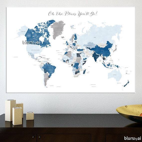 48x32 poster world map with countries distressed travel art 48x32 poster world map with countries distressed travel art shades of blue and gumiabroncs Choice Image