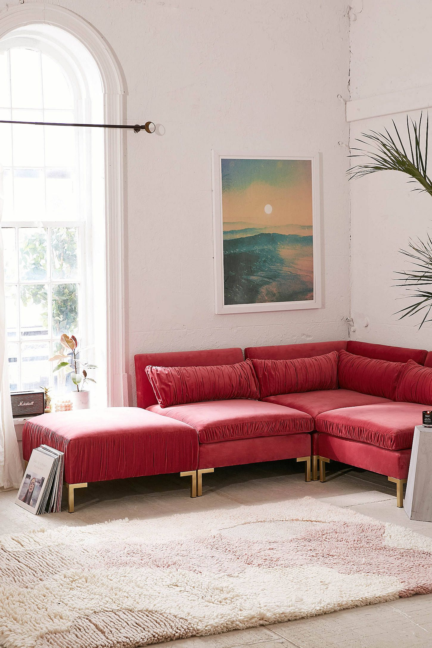Shop cecilia ruched velvet sectional sofa