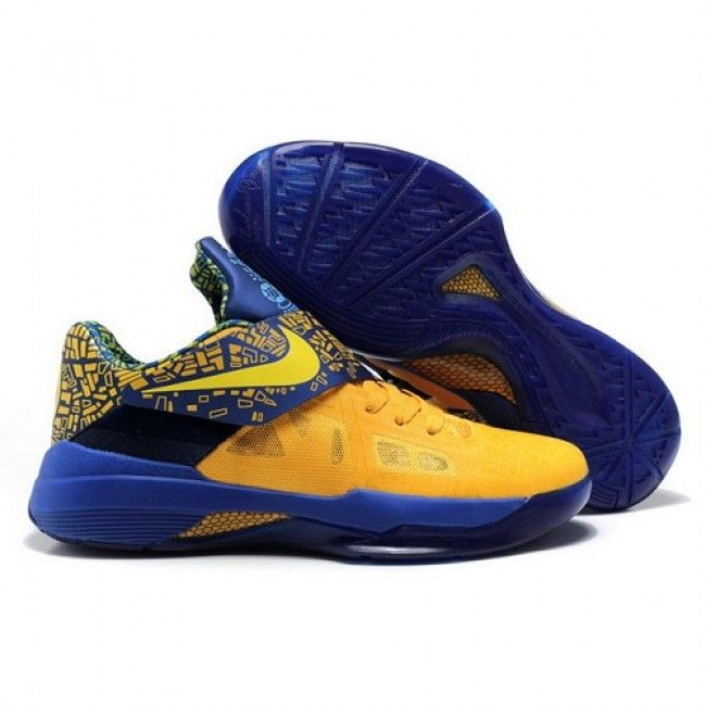 Discount Nike Zoom Kevin Durant New KD IV Men Yellow/Blue Sapphire  Basketball Shoes 1010