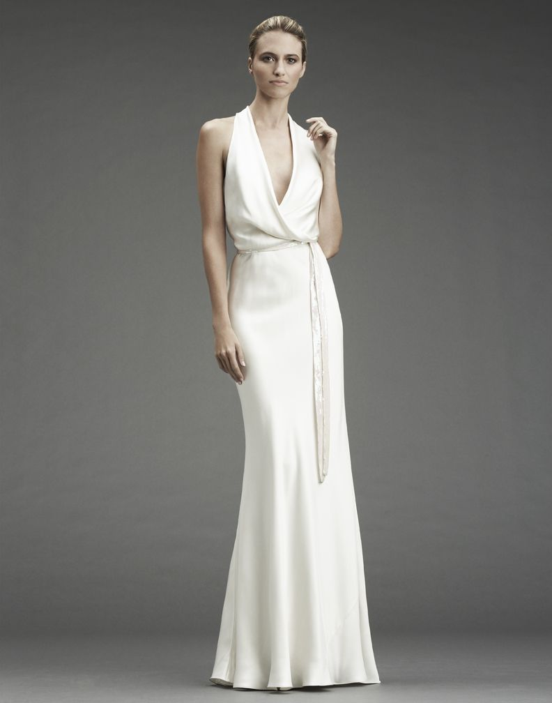 cowl neck wedding dress Nicole miller wedding dresses deep v neck silk