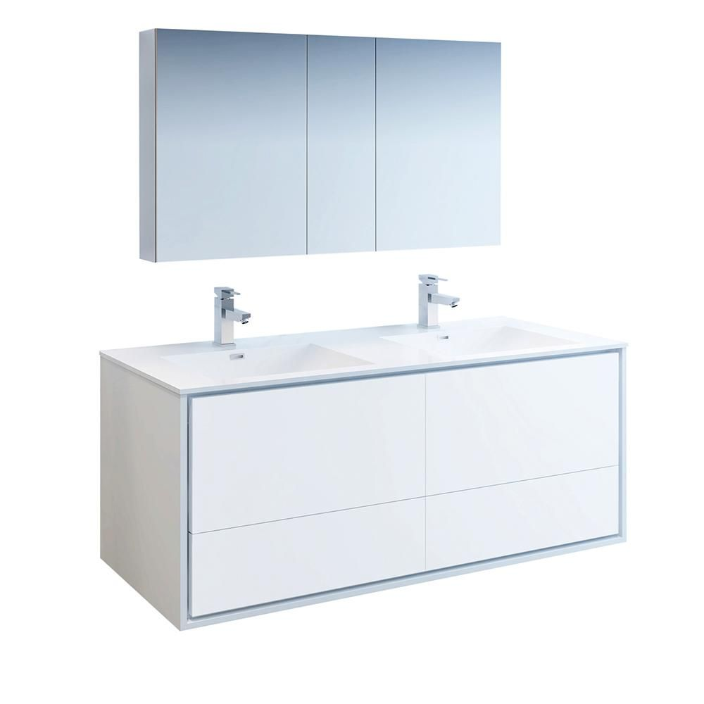 Fresca Catania 60 In Modern Double Wall Hung Vanity In Glossy