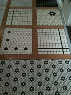 black flowers with white hex tile