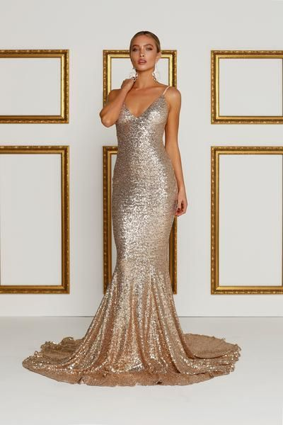 08bca6dc0e6 Rose Gold Night Out Gown - Yassmine Luxe – Alamour The Label