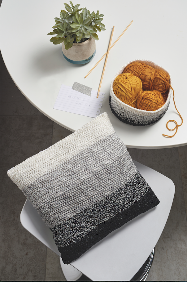Go monochrome with this stylish glitter cushion and matching basket. You'll find the patterns in issue 52 of Simply Crochet