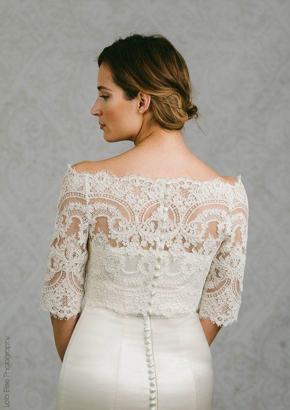 736ddd559e Bianca | off the shoulder French Lace bolero with button back | Esküvői  ruhák | Pinterest
