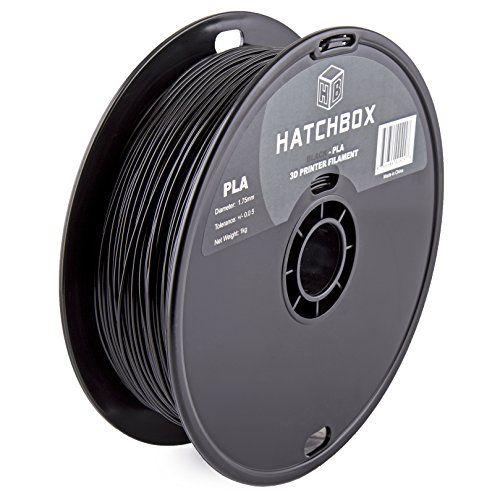 HATCHBOX PLA 1.75 mm 3D Printer Filament in Black 1kg Spool