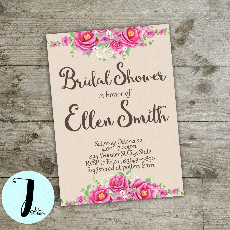 Bridal shower invitation, floral bridal shower invitation, flower ...