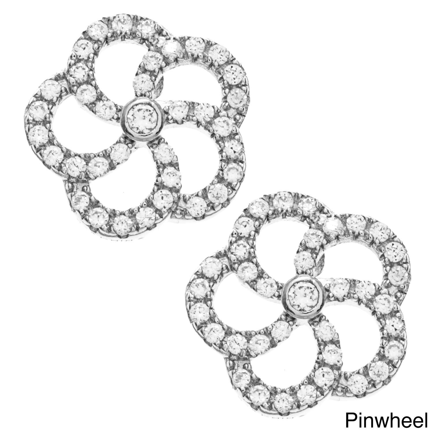 La Preciosa Sterling Silver Pave Cubic Zirconia Earrings (