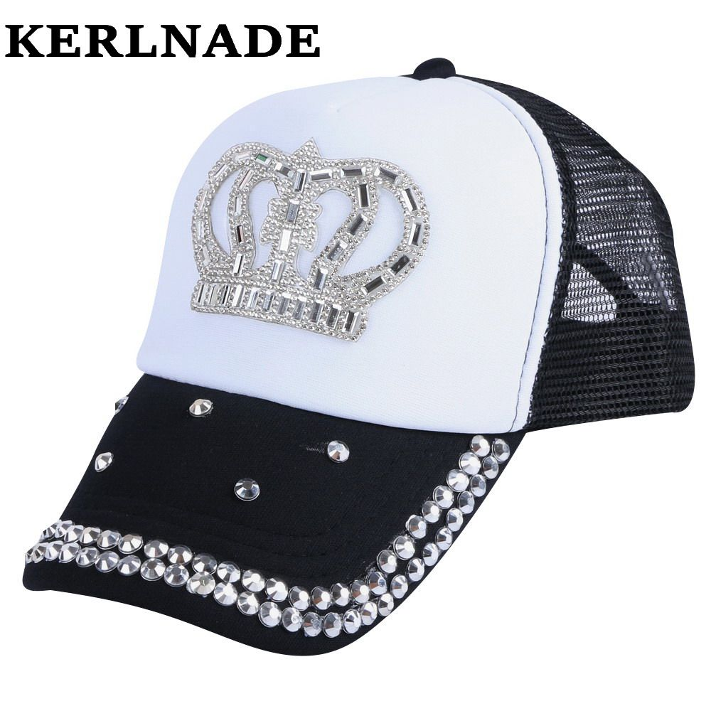 Click To Buy Wholesale Children Summer Cap Hat Pink Black Fuchsia Colored Crystal Crown Brand Baseball Ca Girl Baseball Cap Summer Cap Sports Accessories