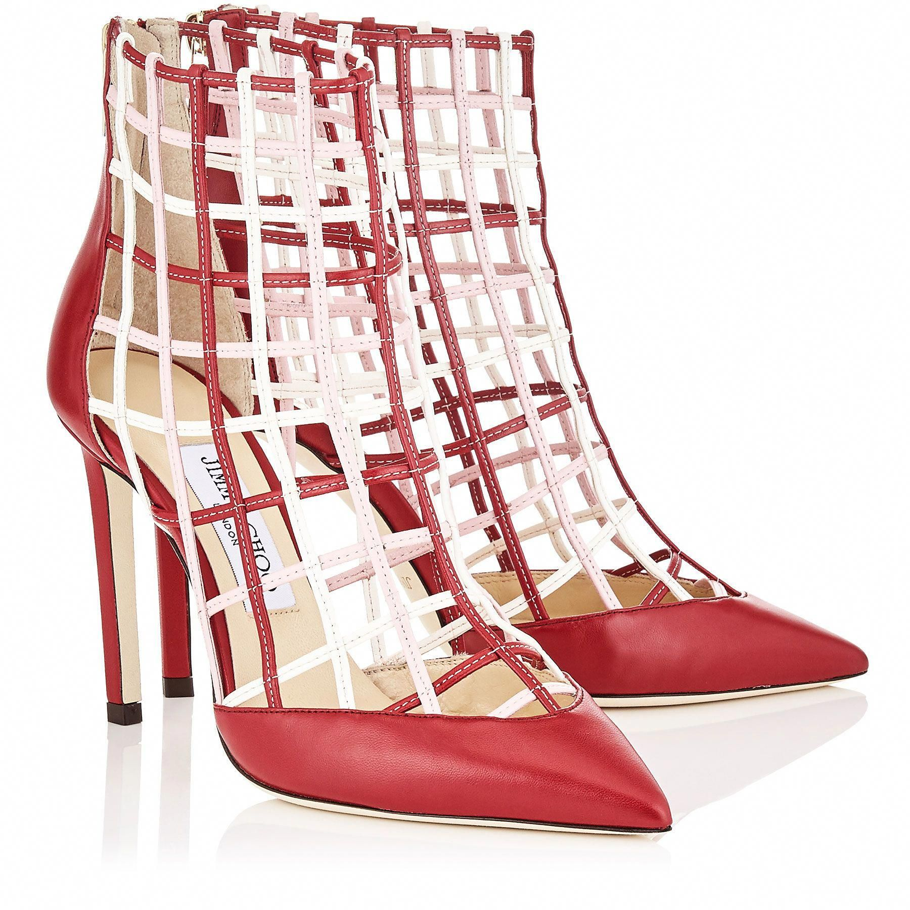 629c91b7765 Red Nappa Leather Booties with Rosewater and Chalk Caged Detailing ...