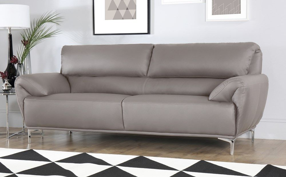 Enzo Taupe Leather 3 Seater Sofa Grey Leather Sofa Best Leather Sofa Grey Leather Couch