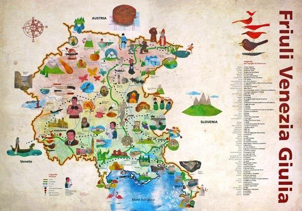 Cartina Friuli Venezia.La Mappa Illustrata Per Bambini Friuli Venezia Giulia Idea Per Mappa Mappe Illustrate Bambino Illustrazione Immagini