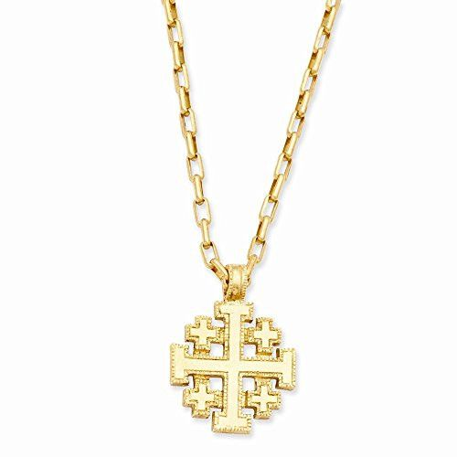Gold-tone Jerusalem Cross 18in Necklace