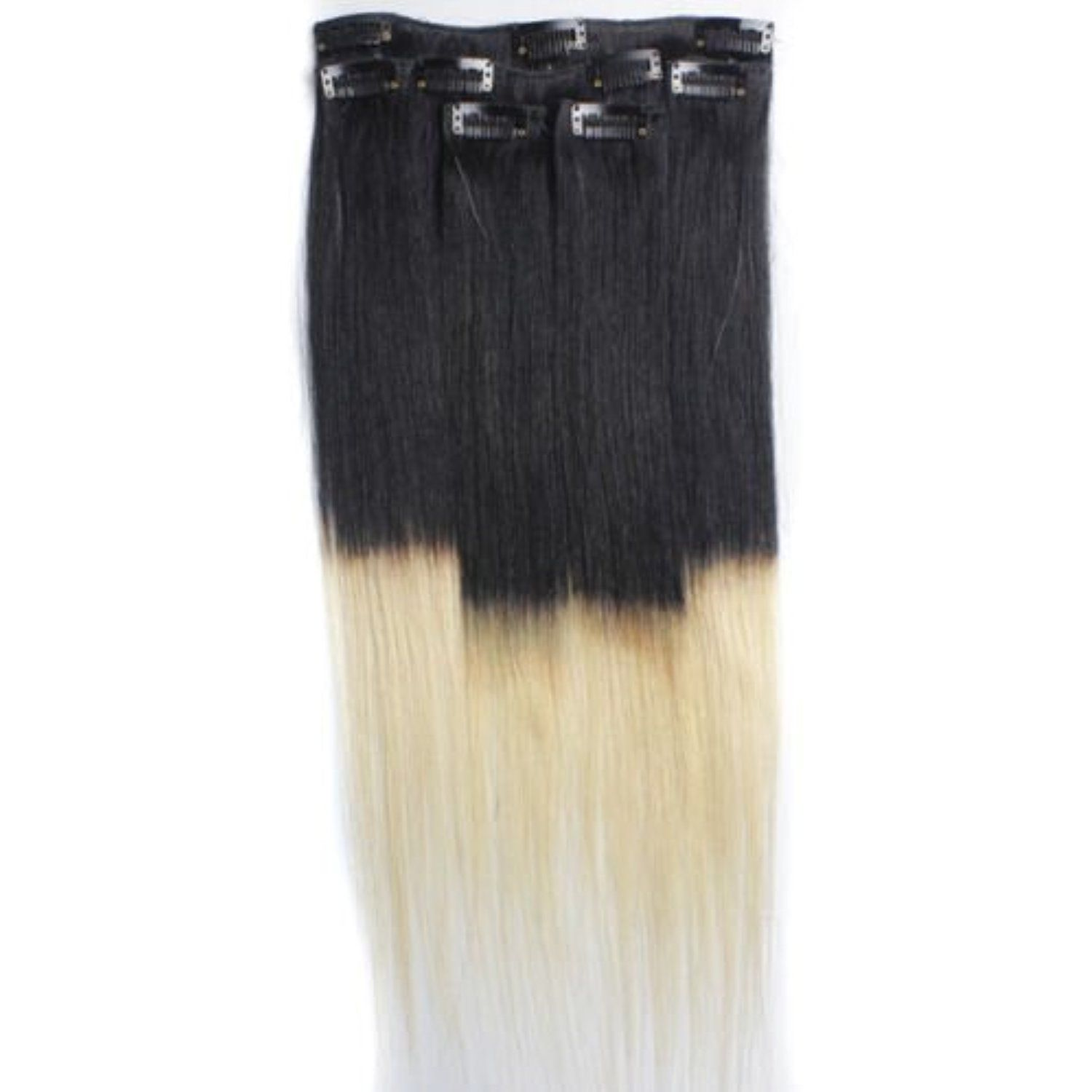 18 Premium Clip In Dip Dye Ombre Remy Human Hair Extensions Color