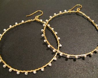 Gold Hoop Earrings Wire Wred Seed Beads By Jewelrybysonjablume