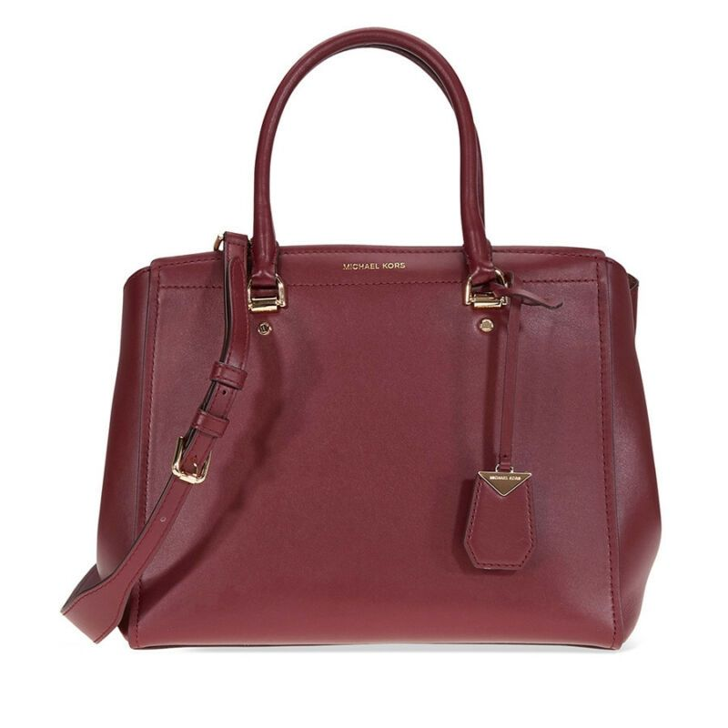f96a7ec13c90 Michael Kors Benning Large Smooth Leather Satchel- Oxblood 30T8GN4S3L-610