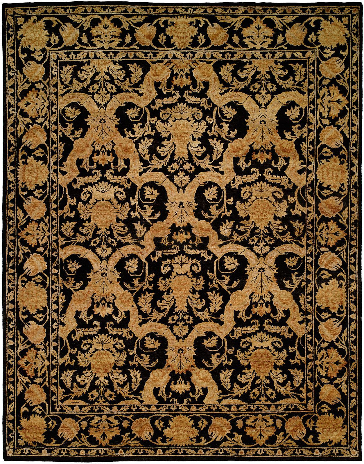 Anchorage Hand Knotted Black Gold Area Rug Area Rugs Rugs