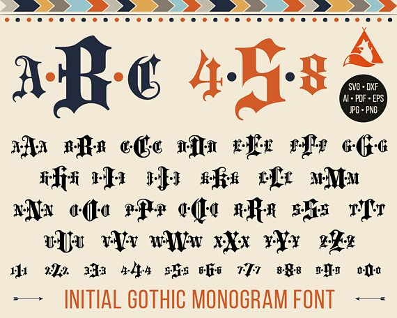 Gothic Monogram Font Svg To Download Goth Old English Letters Alphabet Numbers For Cutting