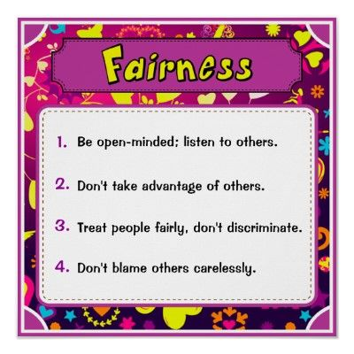 Character Traits Posters, Fairness - 4 of 6 Poster Character - positive character traits