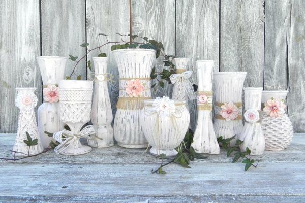 Deko Shabby Chic vasen dekorieren shabby chic deko selber machen dekoration