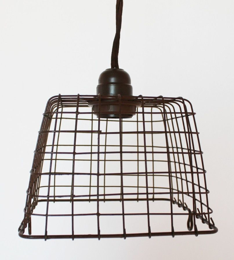Rustic Primitive Basket Metal Swag Lamp Hanging Pendant Light ...