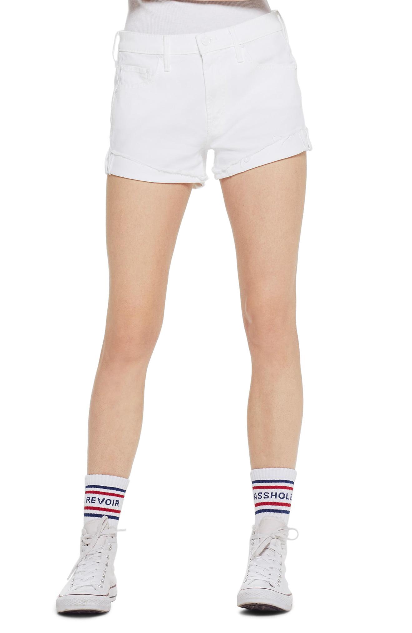 f16d9e7a2e Women's Mother The Rascal High Waist Slit Flip Denim Shorts, Size 25 - White