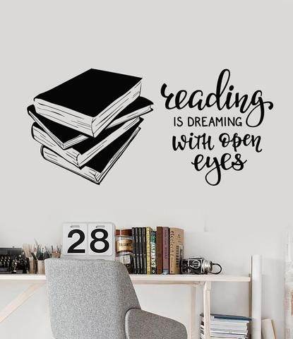 vinyl wall decal books quote reading room library book shop stickers