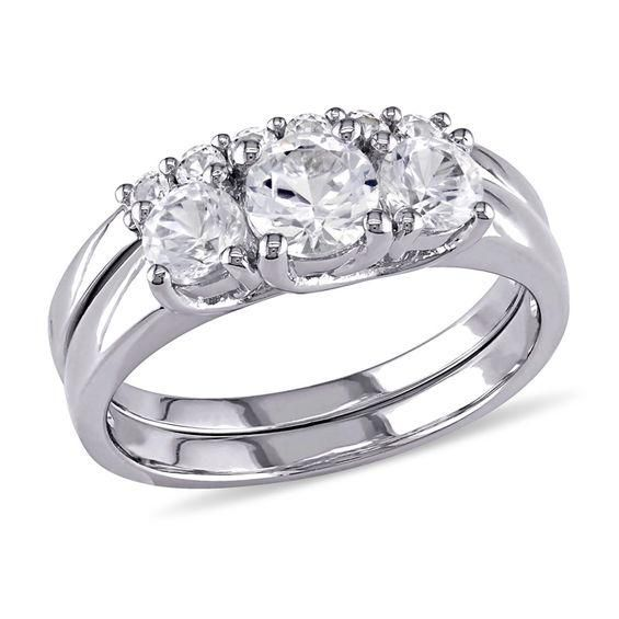 Zales 5.0mm Lab-Created White Sapphire and 1/5 CT. T.w. Enhanced Black Diamond Bridal Set in Sterling Silver vldz2MOkV