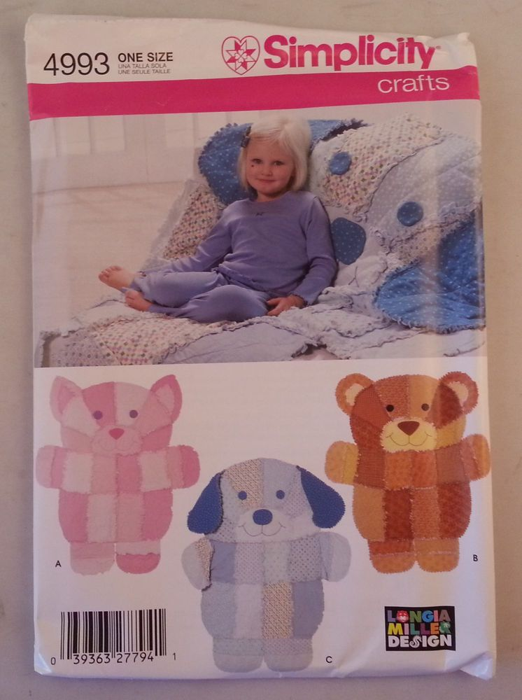 Simplicity Crafts Longia Miller Sewing Pattern 4993 Rag Quilt Throws Uncut Bear Quilts Rag Quilt Patterns Baby Rag Quilts