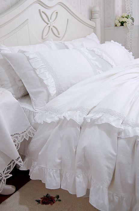 Shabby And Elegant White Lace Ruffle Duvet Cover Bedding Set