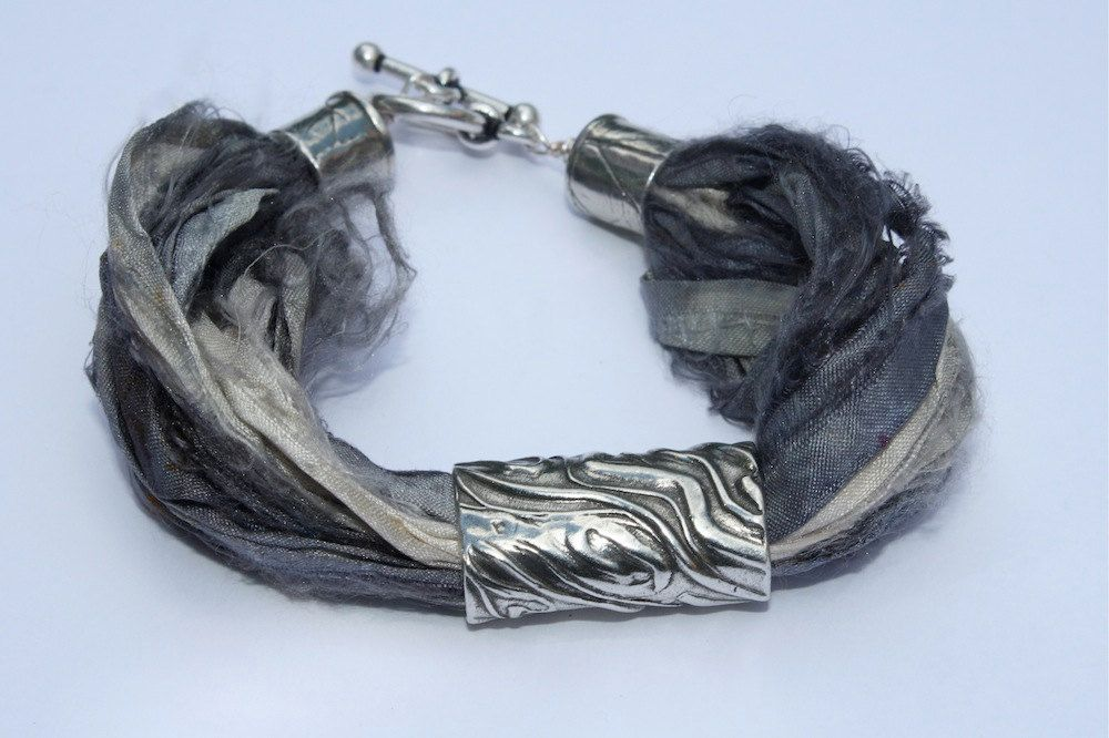 Sari Silk Bracelet with Pewter Bead in Gray White and Silver.
