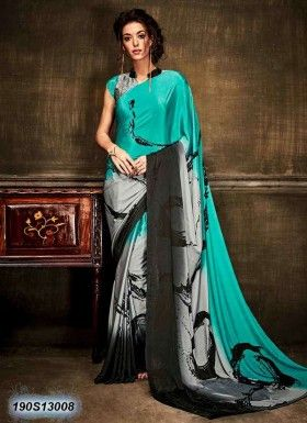 Bedazzling Grey Coloured Crepe Silk Casual Saree Crepe Silk Sarees Saree Designs Casual Saree