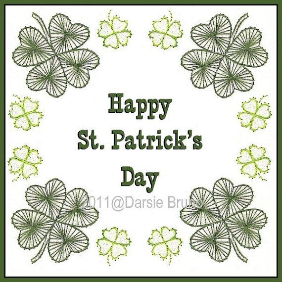 Shamrock Frame St Patrick's Day Paper Embroidery Pattern by Darse, $1.50