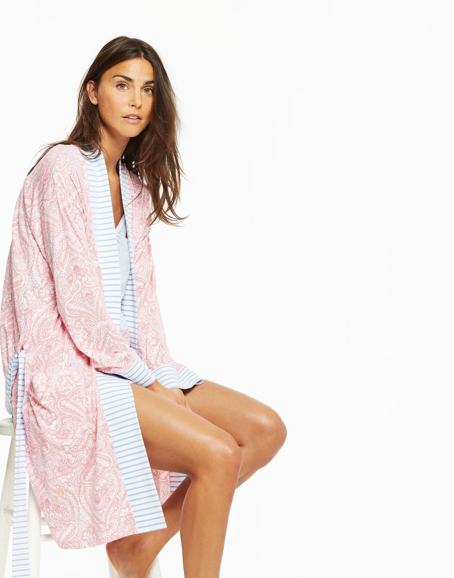Jasmine Pink Paisley Jersey Dressing Gown | Joules UK | SS 2020 ...