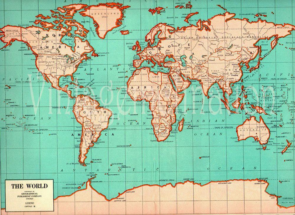 Antique LARGE WORLD Map 1941 ORIGINAL 1940s Map of the world