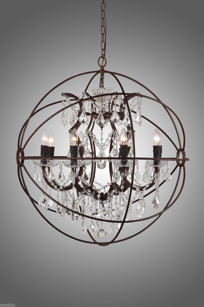 Rustic iron crystal orb chandelier a foucaults globe style rustic iron crystal orb chandelier a foucaults globe style pendant lamp new aloadofball Image collections