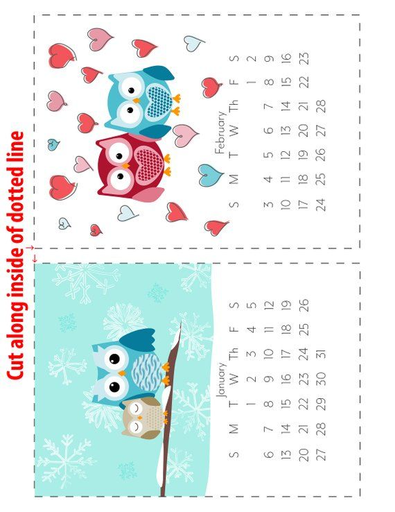 2021 Adorable Owl Monthly Calendars Instant Download ...