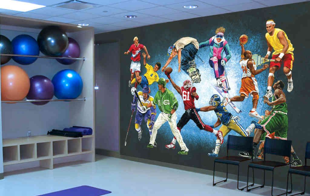 Sports Stars Wall Mural. This wall mural measures 10'6
