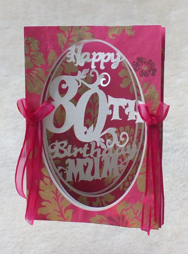 Luxury Handmade Mums 80th Birthday 3d Concertina Card With