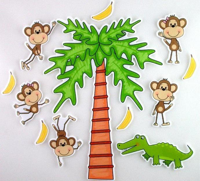 Five Little Monkeys Swinging From A Tree Felt Board Activty