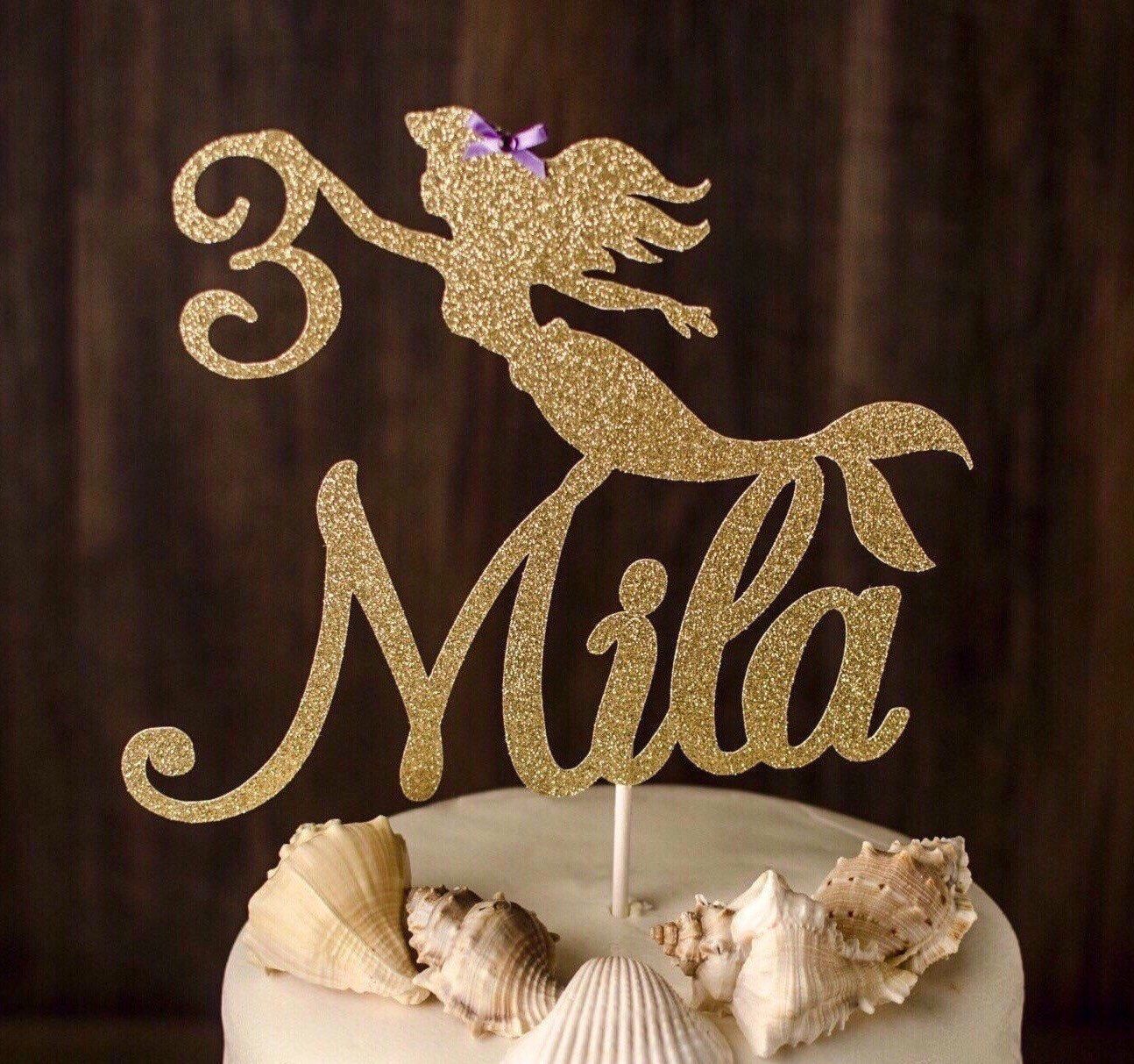 Any name and age cake topper mermaid cake topper under