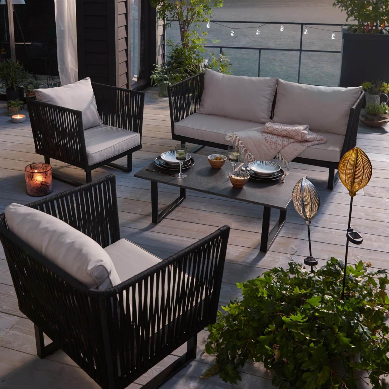 Outdoor Lounge Set 4 Tlg Ravenna Modern Metall Outdoor Lounge Gartenmobel Lounge Set Im Freien