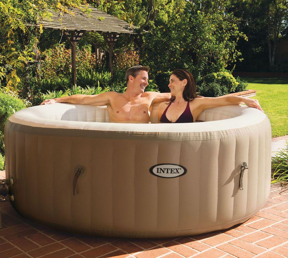 Attractive Intex PureSpa 4 Person Inflatable Bubble Jet Spa Portable Hot Tub, Tan    28403E