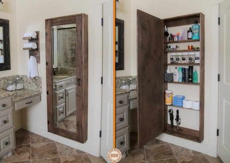 Diy Bathroom Mirror Hidden Storage