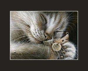 Sepia Cat ACEO His Toy Print by I Garmashova