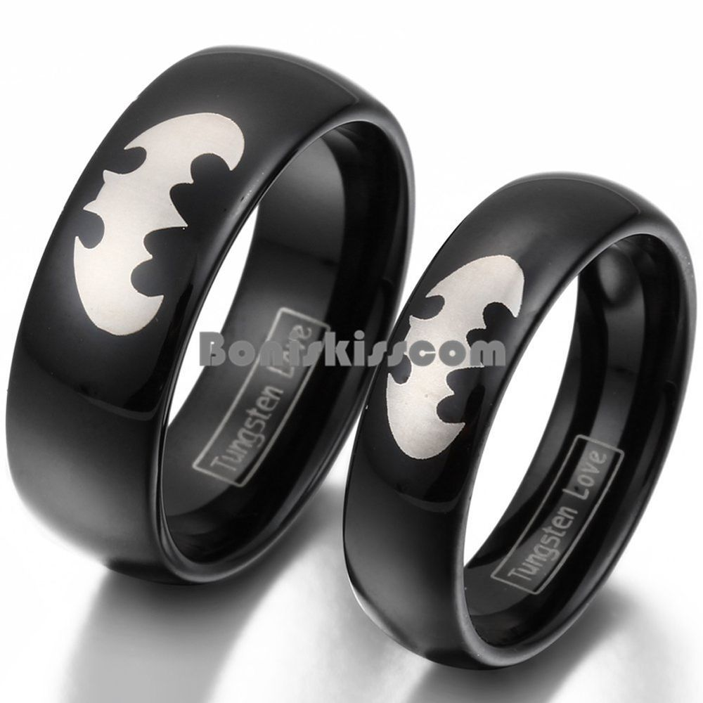 Tungsten Carbide Batman Ring Dome Mens Womens Couples Matching Wedding Band
