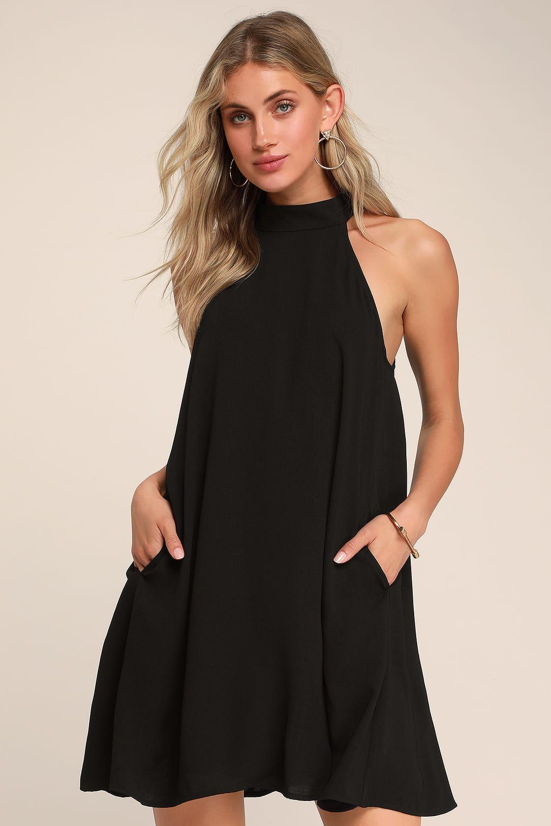 Love of mine black halter swing dress black white