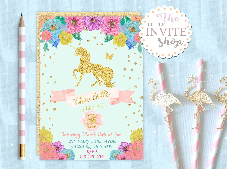 Glitter Unicorn Pony Invite | Girls Birthday Party Invitation ...