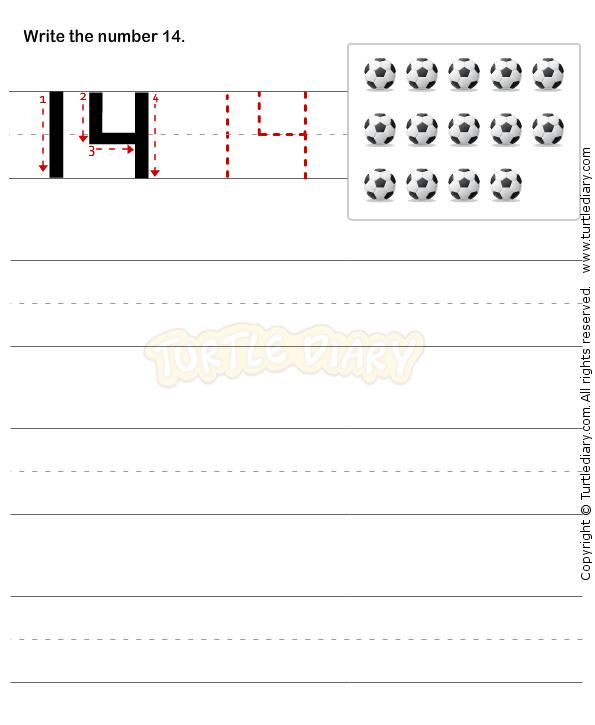 Number Writing Worksheet 14 - math Worksheets - preschool Worksheets ...