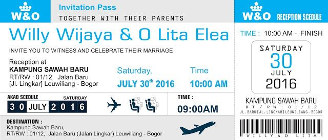 Undangan Bentuk Tiket Pesawat Invitation Invitations Wedding
